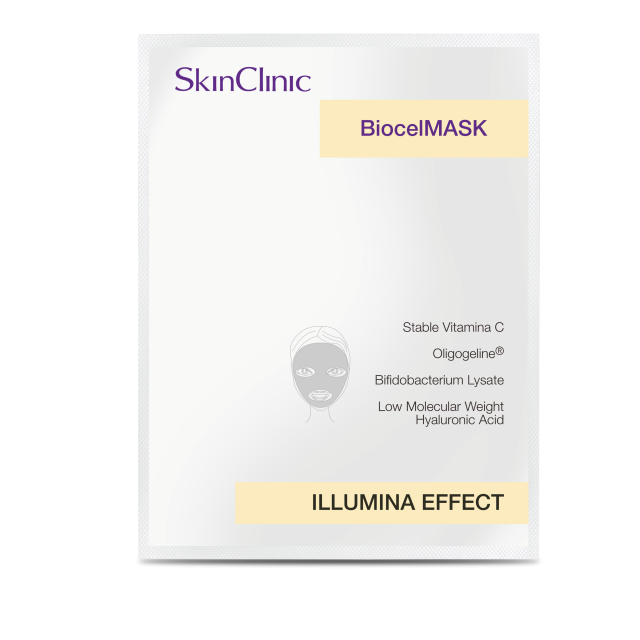 Mascarilla de biocelulosa que ilumina la piel incrementando su luz y brillo natural